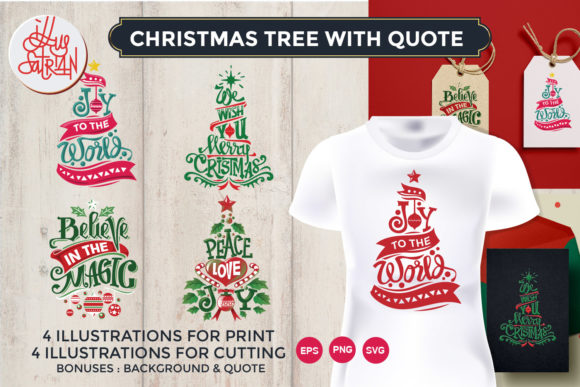 Download Free Christmas Tree Quotes Collection Graphic By Illusatrian SVG Cut Files