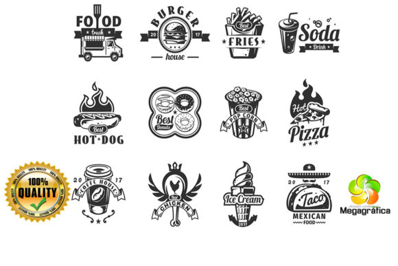 Print on Demand: Cute Food Vector Bundle 12 Designs Graphic Crafts By Megagrafica