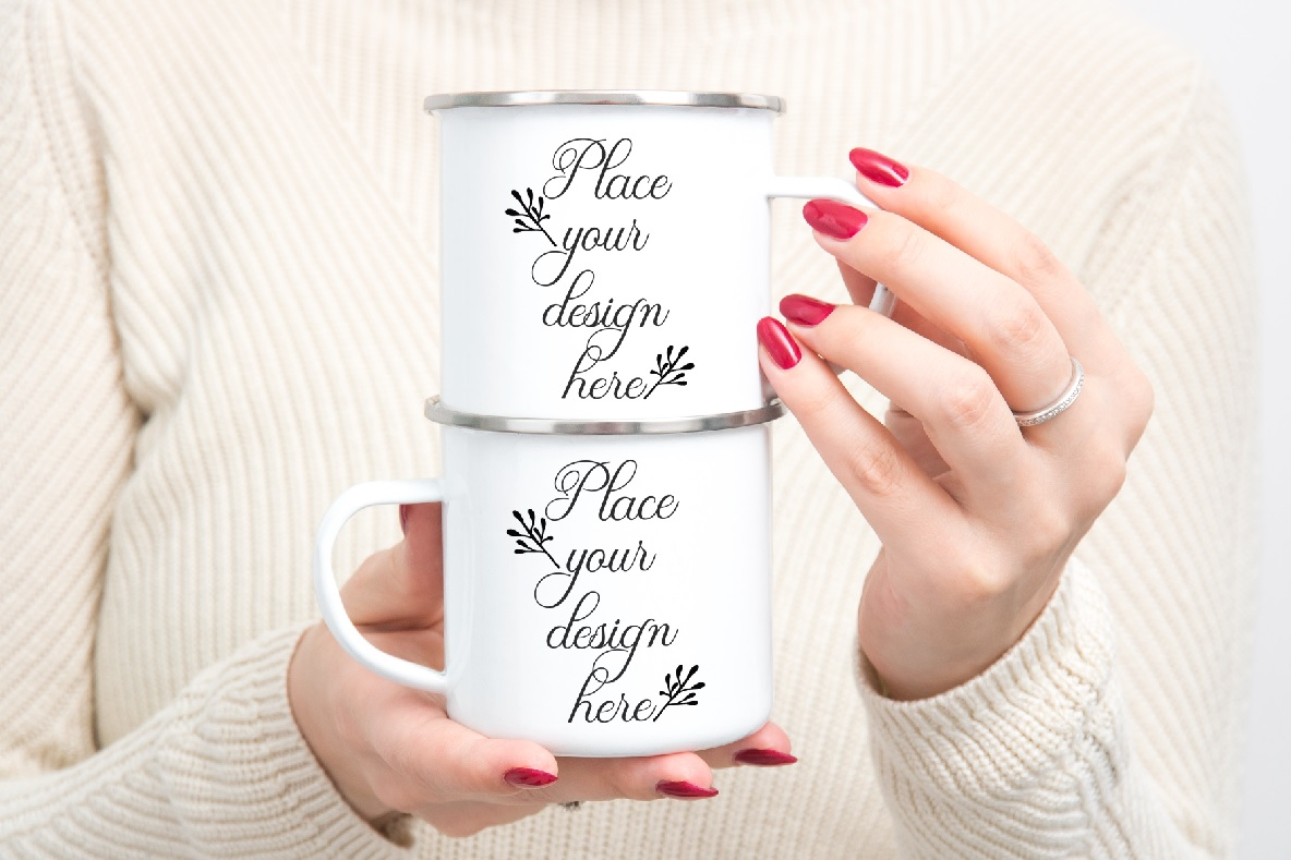 Download Free Enamel Mockup Woman Holding Camping Mugs Graphic By Leo Flo for Cricut Explore, Silhouette and other cutting machines.