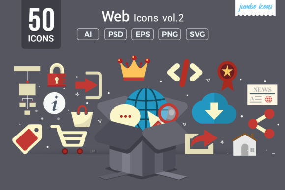 Print on Demand: Flat Vector Icons Web Pack Graphic Icons By jumboicons