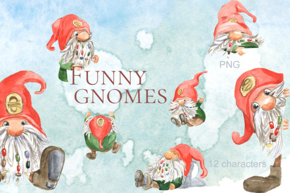 Print on Demand: Funny Gnomes Watercolor Graphic Illustrations By laffresco04