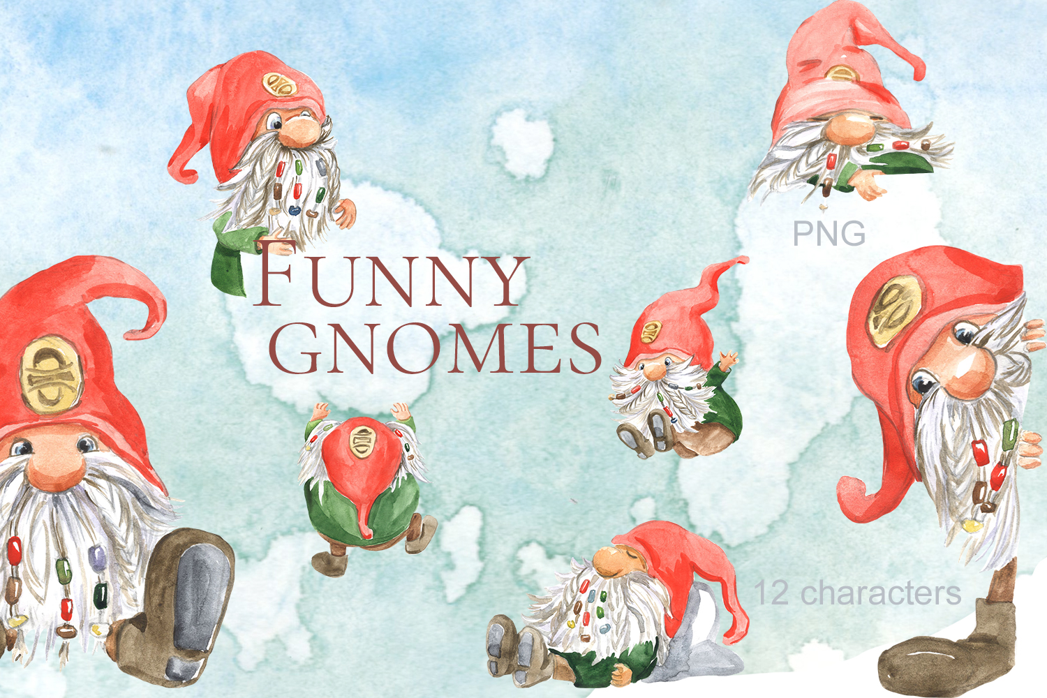 Download Free Funny Gnomes Watercolor Graphic By Laffresco04 Creative Fabrica for Cricut Explore, Silhouette and other cutting machines.