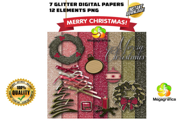 Print on Demand: Glitter Elegant Christmas Digital Papers Graphic Patterns By Megagrafica