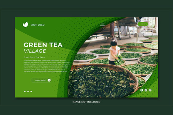 Download Free Landing Page Green Tea Village Theme Graphic By Salmanalfa for Cricut Explore, Silhouette and other cutting machines.