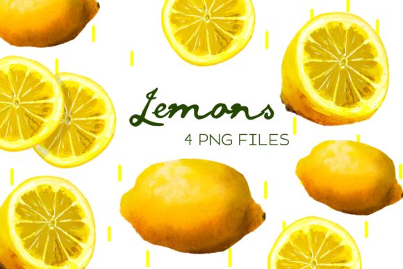 Print on Demand: Lemons, Citrus, Watercolor Clipart Graphic Illustrations By Inkclouddesign