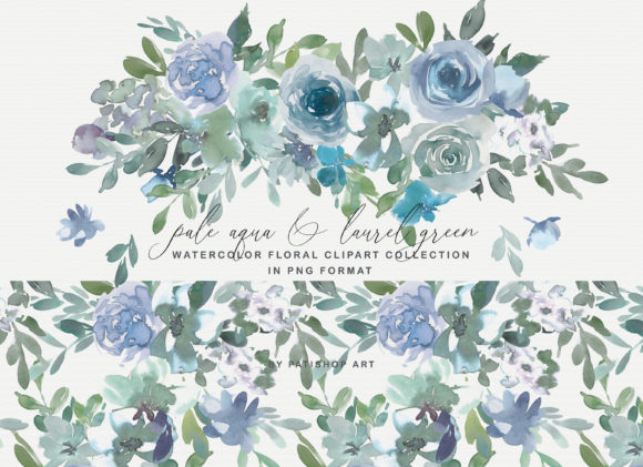 Pale Aqua & Laurel Green Floral Clipart Graphic Illustrations By Patishop Art