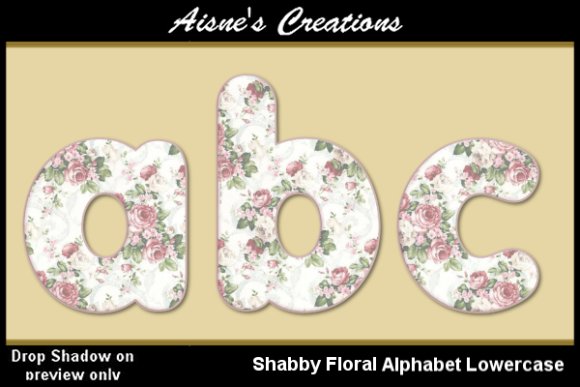 Print on Demand: Shabby Floral Alphabet Lowercase Graphic Objects By Aisne