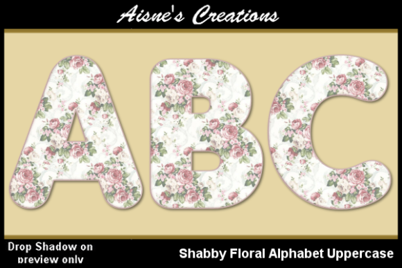 Print on Demand: Shabby Floral Alphabet Uppercase Graphic Objects By Aisne