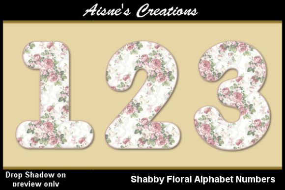 Print on Demand: Shabby Floral Numbers Graphic Objects By Aisne