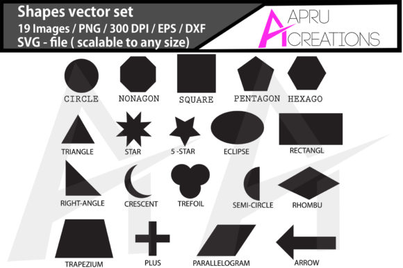 Print on Demand: Shapes  Shapes Silhouette Grafik Icons von aparnastjp