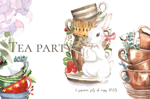 Print on Demand: Cute Tea Party Bunny Graphic Illustrations By laffresco04 - Image 1