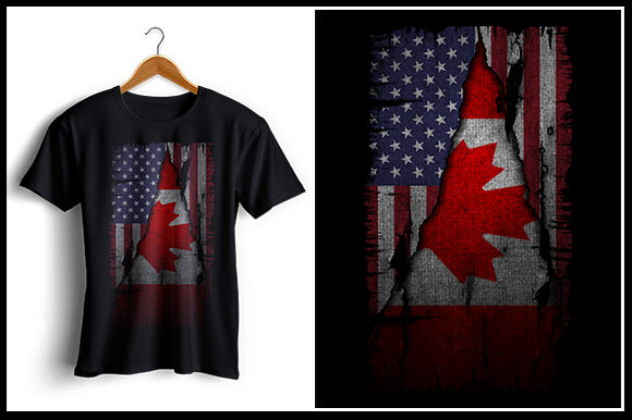 Download Free Us And Canada Flag Tshirt Design Graphic By Zaibbb Creative for Cricut Explore, Silhouette and other cutting machines.