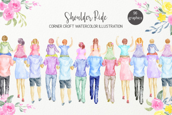 Watercolor Clipart Shoulder Ride Graphic Illustrations By Corner Croft