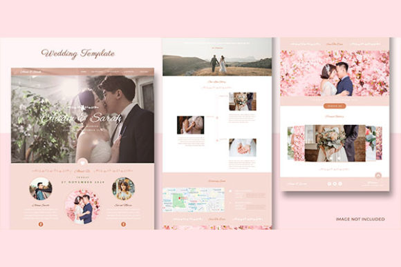Website Template Pink Happy Wedding Graphic Site Templates By salmanalfa