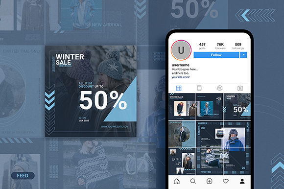 Download Free Winter Sale Instagram Feed Story Graphic By Obendsgn for Cricut Explore, Silhouette and other cutting machines.