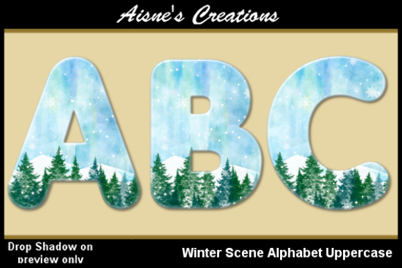 Print on Demand: Winter Scene Alphabet Uppercase Graphic Objects By Aisne