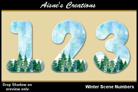 Print on Demand: Winter Scene Numbers Graphic Objects By Aisne