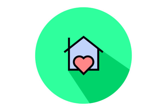 Download Free House With Love Liner Fill Icon Graphic By Riduwan Molla for Cricut Explore, Silhouette and other cutting machines.