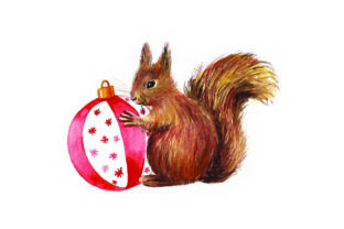 Squirrel Holding Ornament - Watercolor Christmas Craft Cut File By Creative Fabrica Crafts