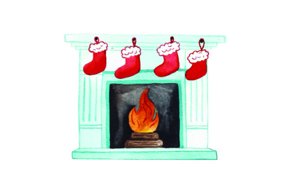Stockings Hung on Fireplace - Watercolor Christmas Craft Cut File By Creative Fabrica Crafts