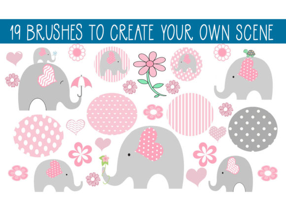 Print on Demand: 19 Elephant Fun Brushes Graphic Brushes By capeairforce