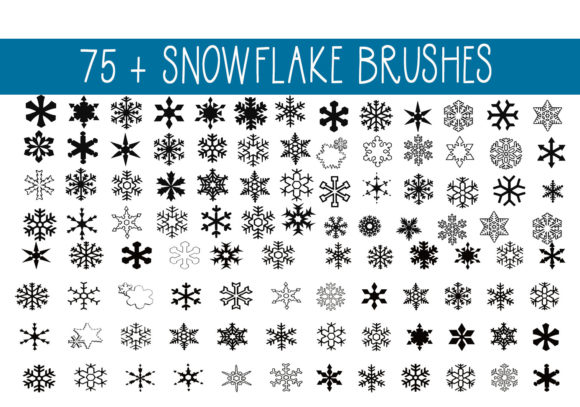 Print on Demand: 75+ Snowflake Brushes Graphic Brushes By capeairforce