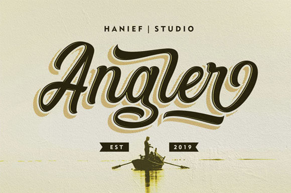 Print on Demand: Angler Script & Handwritten Font By Hanzel Studio