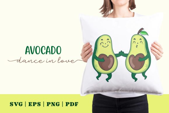 Print on Demand: Avocado Dance in Love Graphic Illustrations By Momentos Crafter