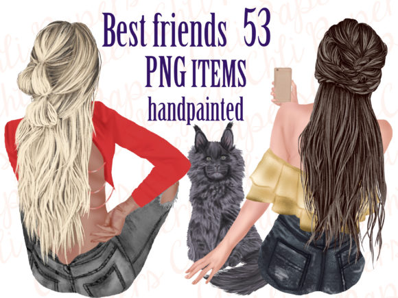 Best Friends Clipart - Girls and Cats Graphic Illustrations By ChiliPapers