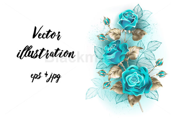 Bouquet of Turquoise Roses Graphic Illustrations By Blackmoon9