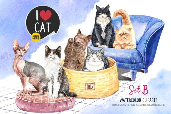 Download Free Cat Lover Watercolor Clip Art Set B Graphic By Sapg Art for Cricut Explore, Silhouette and other cutting machines.