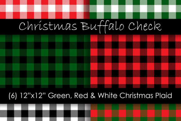 Christmas Buffalo Check Patterns Gráfico Moldes Por GJSArt