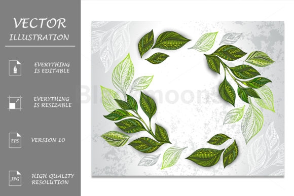 Composition of Patterned Tea Leaves Graphic Illustrations By Blackmoon9