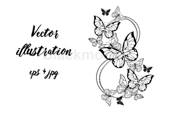 Eight of Contour Butterflies Graphic Illustrations By Blackmoon9