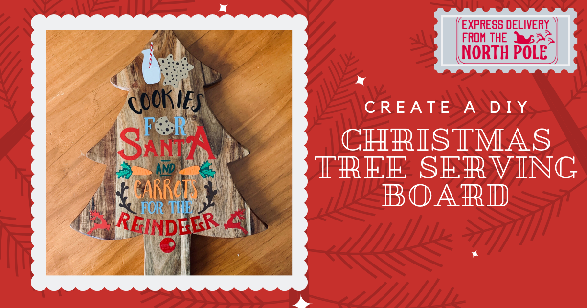 Download Free Christmas Tutorial How To Create A Christmas Tree Serving Board for Cricut Explore, Silhouette and other cutting machines.