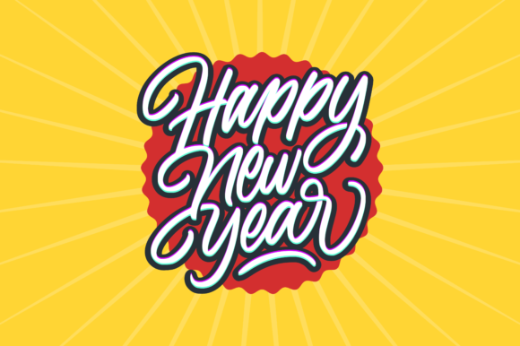 Print on Demand: Happy New Year Calligraphy Text Card Graphic Illustrations By herbanuts - Image 1