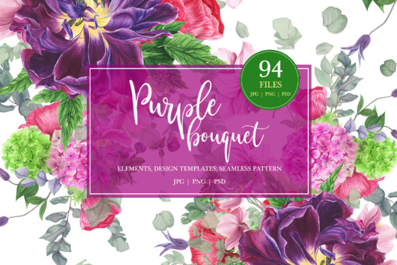 Print on Demand: Purple Bouquet Watercolor Clipart Graphic Illustrations By tpushnaya