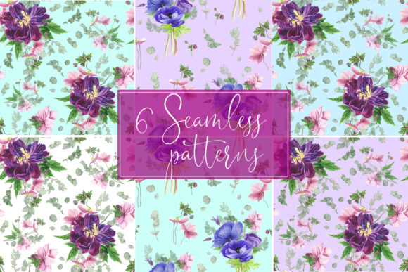 Print on Demand: Purple Bouquet Watercolor Clipart Graphic Illustrations By tpushnaya - Image 7