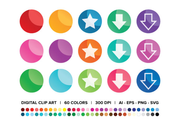 Print on Demand: Round Gradient Web Button Clip Art Set Graphic Illustrations By Running With Foxes - Image 1