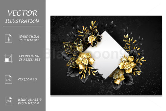 White Rhombus with Black Orchids Graphic Illustrations By Blackmoon9