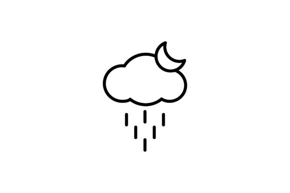 Download Free Cloud Rain And Sun Line Art Vector Icon Graphic By Riduwan Molla Creative Fabrica for Cricut Explore, Silhouette and other cutting machines.