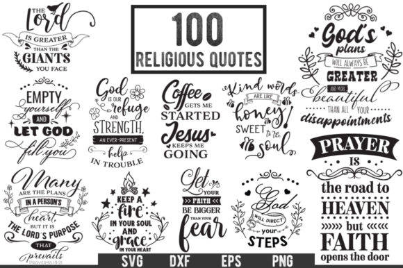 100 Religious Quotes - Cut Files Pack Graphic Crafts By Nerd Mama Cut Files