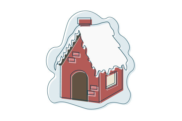House Covered in Snow Abstract Print Art Style Winter Craft Cut File By Creative Fabrica Crafts
