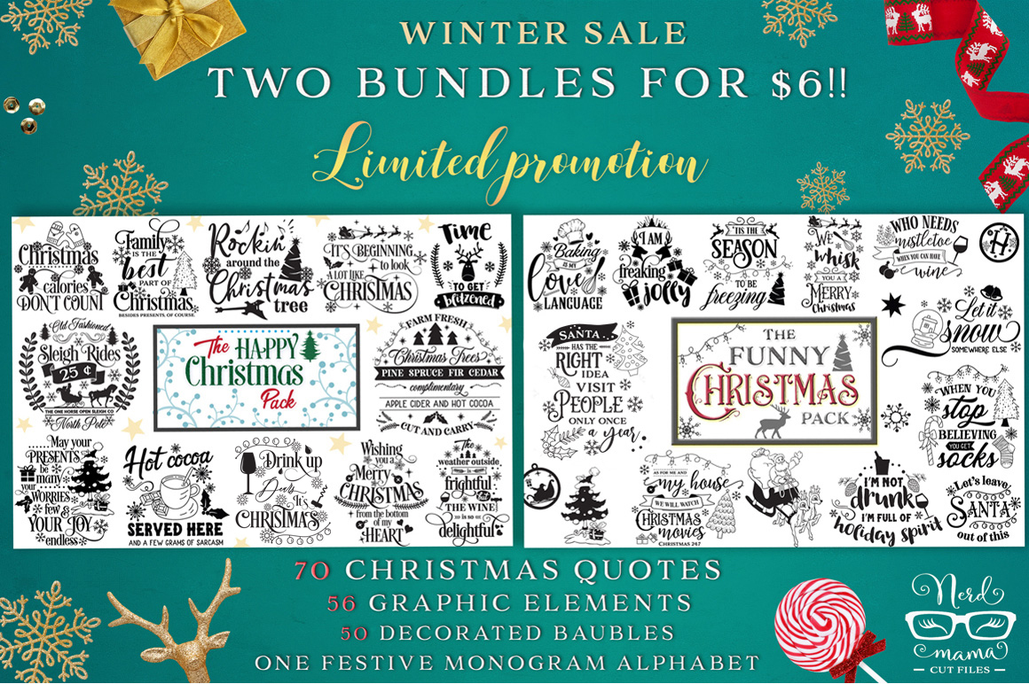 Download Free 2 Christmas Bundles Graphic By Nerd Mama Cut Files Creative for Cricut Explore, Silhouette and other cutting machines.