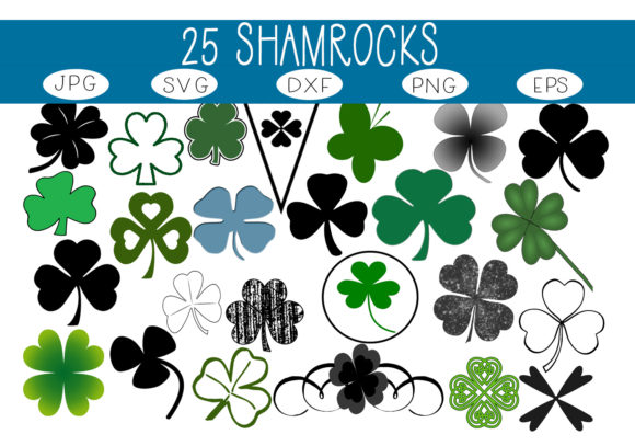 Print on Demand: 25 Shamrocks - Clovers Graphic Illustrations By capeairforce