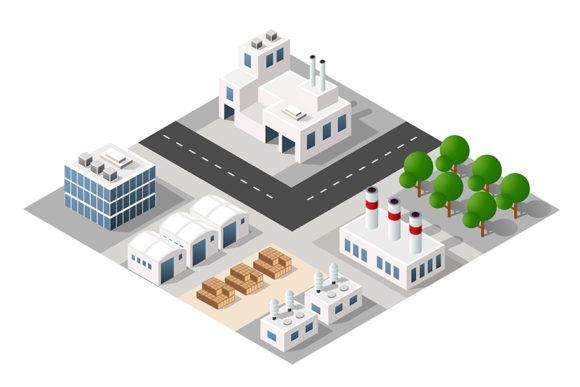 Print on Demand: 3D City Construction Industry Graphic Illustrations By AlexZel