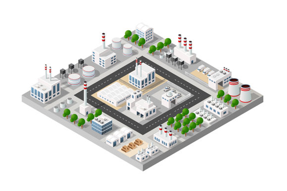 Print on Demand: 3D City Construction Industry Graphic Objects By AlexZel