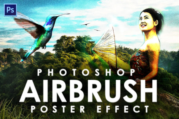 Print on Demand: Airbrush Poster Photoshop Action Graphic Actions & Presets By denestudios
