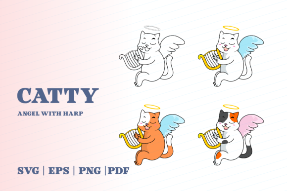 Print on Demand: Catty Angel with Harp Graphic Illustrations By Momentos Crafter