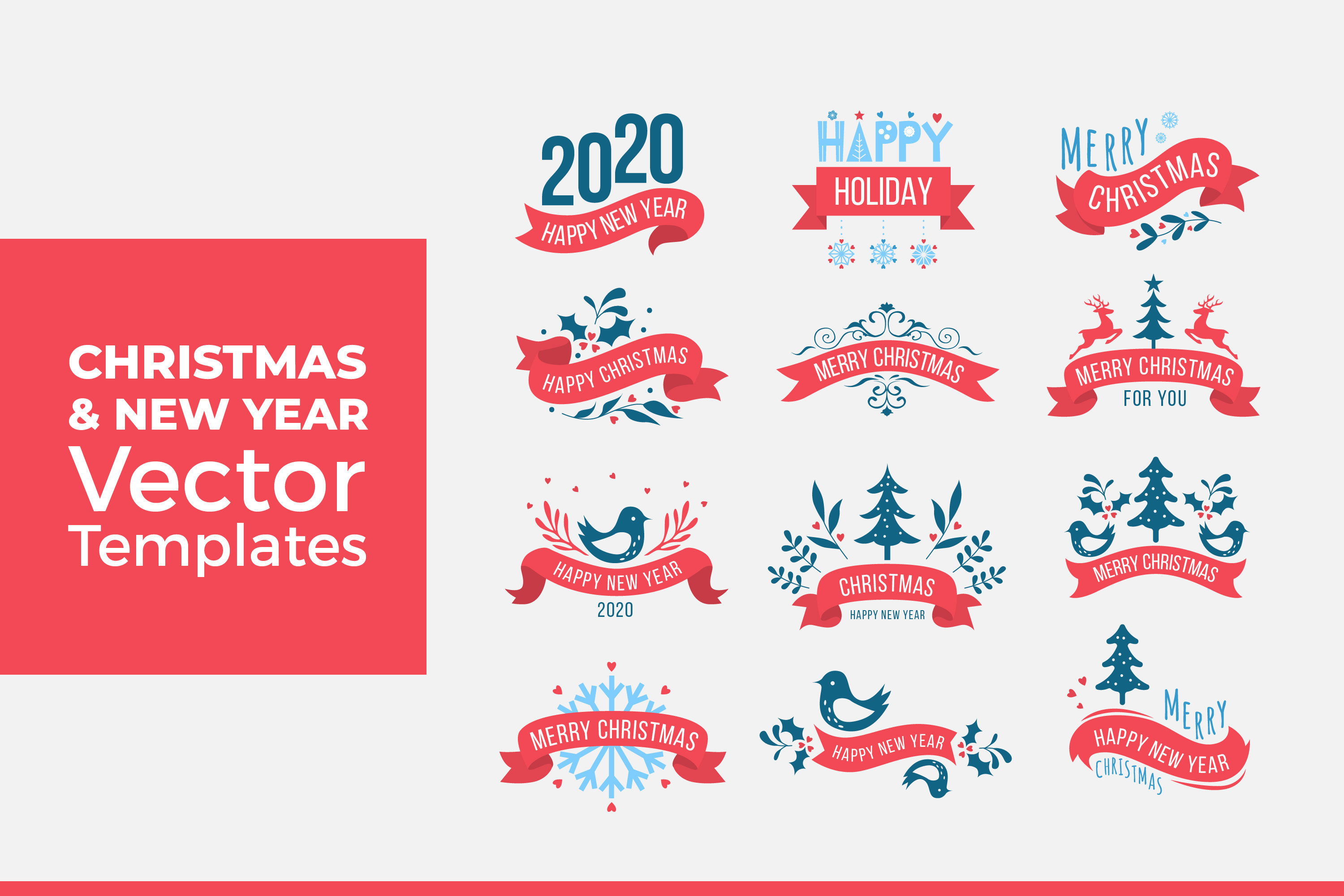 Download Free Christmas And New Year Vector Templates Graphic By Dendysign for Cricut Explore, Silhouette and other cutting machines.
